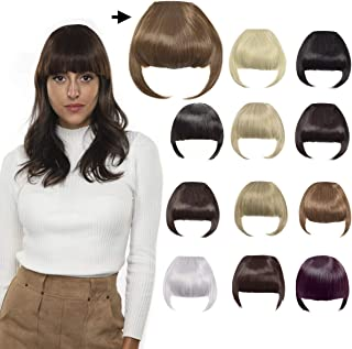 Clip in Bangs Fringe Hair Extensions with Temples Synthetic Fashion Hair-pieces Light Brown