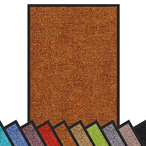 Schmutzfangmatte Rhine | schadstoffgeprüft | waschbare & extra leistungsstarke Fußmatte | Sauberlaufmatte mit Rutschfester Rückseite | Türmatte in vielen Größen & Farben (60x90 cm, Braun)