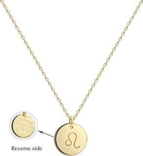 Befettly Constellation Necklace Pendant 14K Gold-Plated Hammered Round Disc Engraved Zodiac Sign Pendant 16.5'' Adjustable Dainty Necklace