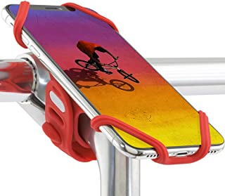 Universal Bike Phone Mount (Upgraded Compatibility with Face ID and Large Smartphones) Bicycle Stem Handlebar Cell Phone Holder for iPhone 11 Pro Max XS XR 8 7 6 Plus, Bike Tie Pro 2 Series (Red)