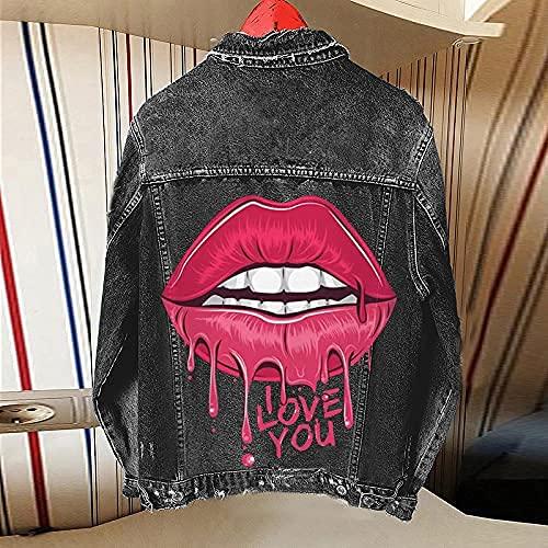 Onsoyours Mujer Chaqueta Vaquera Oversize Jean Jacket Cute Casual Moda Denim Chaqueta E Negro XL