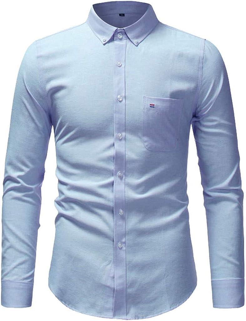 Allywit Men's Casual Slim Fit Shirt Cotton Long Sleeve Button Down Dress Shirt