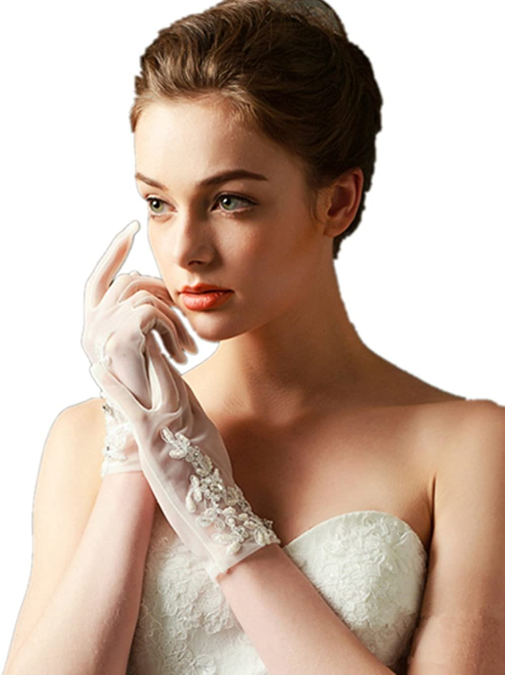 CL Women Sexy Floral Bow Vintage Spring and Summer Short Lace Bride Short Gloves UV Protection Wrist Wedding Gloves