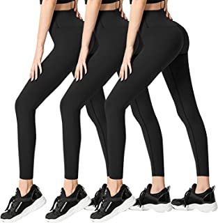 3 Pack Womens Leggings-No See-Through High Waisted Tummy Control Yoga Pants Workout Running Legging-Reg&Plus Size