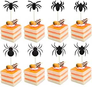 Coxeer 8PCS Paper Cake Topper Spider Shape Mini Cake Topper Party Topper for Halloween