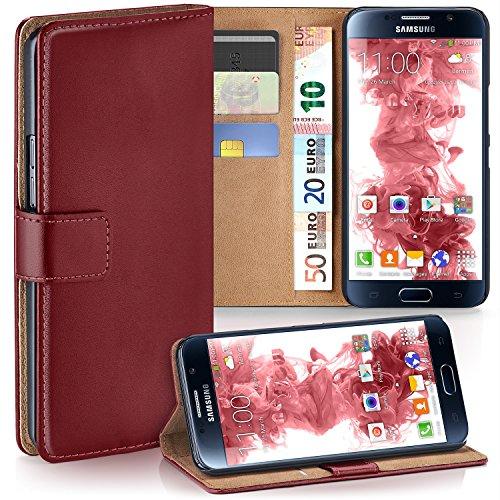 MoEx Premium Book-Case Handytasche passend für Samsung Galaxy S6 | Handyhülle mit Kartenfach und Ständer - 360 Grad Schutz Handy Tasche, Dunkel-Rot