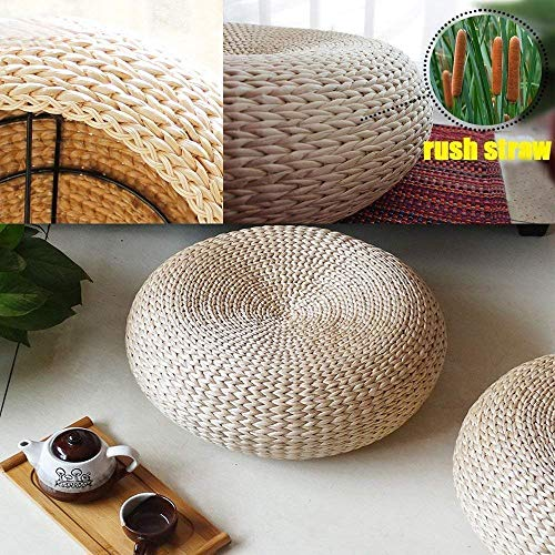 GoEoo Japanese Style Hand Woven Rush Straw Tatami Cushion,Straw Braid Futon Cushion Mattresses Cattail Typha Cushion Mat Best for Zen,Yoga Practice or Meditation (40x17cm(15.8x6.7'')