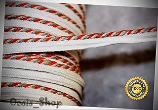 5 Yard Orange Gray White Lip Cord Piping Striped Upholstery Trim 1/8