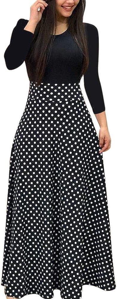 Womens Long & Short Sleeve Maxi Dress Floral Boho Print Casual Crewneck Tunic Dress Long High Waist Elastic Beach Dress