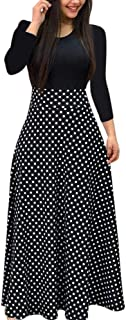 iLUGU Neutral Maxi Dress for Women Long Sleeve Round Collar Dot Floral Print Patchwork Solid Color Tops