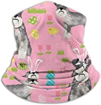 Schnauzer Easter Spring Eggs Dog Pet Pink Fleece Neck Warmer Heat Trapping Sun-Proof Neck Gaiter Tube Soft Elastic Balaclava Half Mask Unisex Windproof Ski Neck Gaiter Cover For Winter Skiing Run