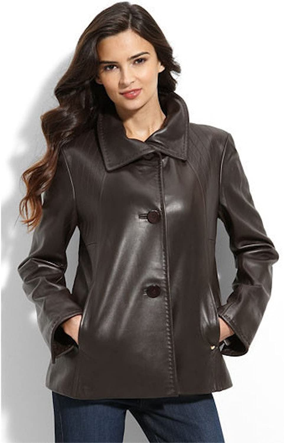 Fadcloset Womens Lambskin 3 Button Leather Coat by B&A