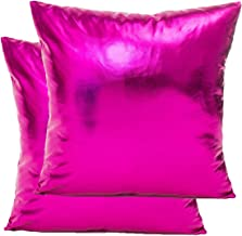 LiiZee Pack of 2 Decorative Throw Pillow Covers Modern Metallic Shiny Cushion Cover, Faux Leather Soft Square Pillowcase for Sofa/Bed/Party, 18 x 18 Inch Hot Pink