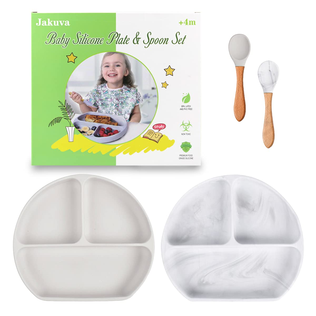Max 54% OFF Jakuva Baby Silicone Divided Suction Plate 2 Department store Safe PCS Food-Grade