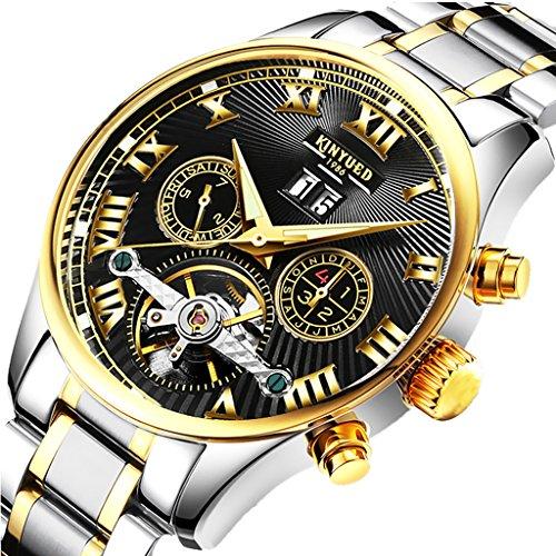 MagiDeal Montre Bracelet en Acier Automatique Calendrier Mécanique Chronographe