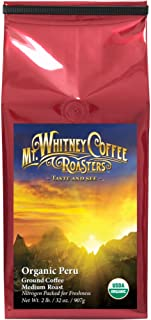 Mt. Whitney Coffee Roasters Organic Peru Ground Medium Roast Coffee, 2 Pound