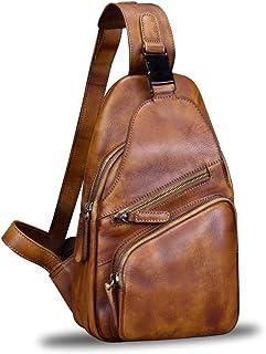 کوله پشتی شانه شانه بند بند چرمی اصل کیف دستی دست ساز Crossbody Daypack (قهوه ای)