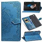 YKTO Funda para Huawei P8 Lite 2015 Artificial Suave Cuero Cierre Magnético Cover Soporte Plegable Flip Billetera Protector Carcasa con Ranuras Mandala en Relieve Diseño Color sólido Azul