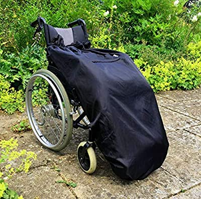 Wheelchair Blanket | Fleece-Lined & Waterproof | Universal fit for Manual and Powered wheelchairs | Adult Size (Plain Black) by BundleBean