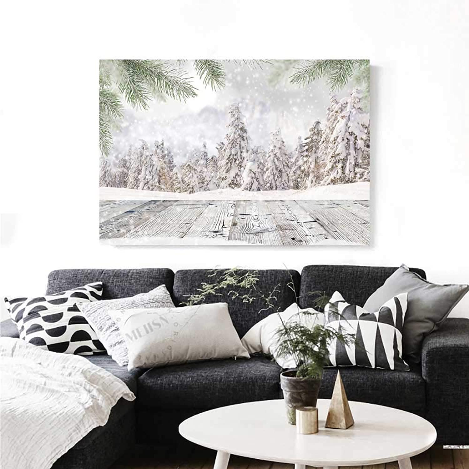 Warm Family Winter Canvas Wall Art Abstract Christmas Themed Image with Snow Covered Forest and Wooden Surface Photo Artwork for Wall Decor 36 x32