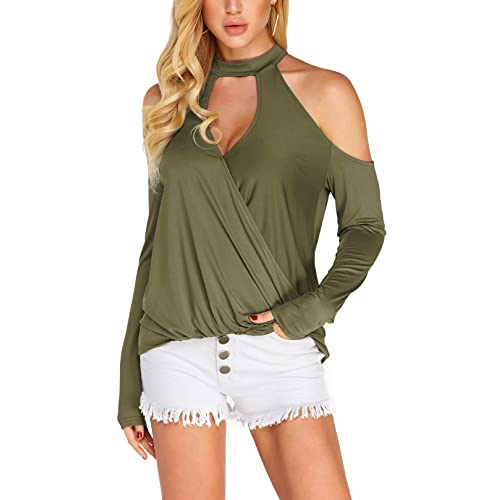 e7595ba523c31 YOINS Women Blouse Crossed Front Design Cold Shoulder V-Neck Lantern  Sleeves Top