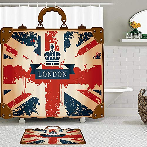 Tenda da doccia in tessuto e set di tappetini,Valigia da viaggio vintage con nastro bandiera britannica Londra e immagine della corona,Tende da bagno impermeabili con 12 ganci,tappeti antiscivolo
