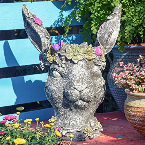 Sungmor Kreativer Bobby-Hasenkopf-Übertopf für Garten, Statue, Ornament | Kunstharz, dekorative Gartenskulptur | geeignet für Garten, Hof, Balkon, Rasen