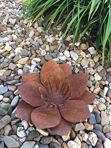 villa-lilla Edelrost Blüte Blume Windlicht Feuerschale Gartenfackel Ø 27 cm *