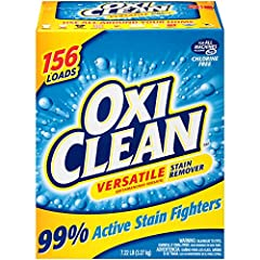 One 7.22 lb (115.3 Ounce) box of OxiClean Versatile Stain Remover Powder Oxygen-based, water-activated formula gets out tough dirt, persistent spots and set-in stains Works with regular detergent to get clothes extra clean Works on carpets, upholster...