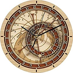 Chycet-3C Clock Astronomical Antique Clock in The Living Room Mute Motion Wall Clock Creative/Retro Quartz 3D Wall Watch Home Decoration (30cm) Clock Clocks (Color : 2)