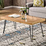 P PURLOVE Modern Wood Coffee Table, Easy Assembly Center Table Nature Cocktail Table for Living Room w/Chevron Pattern & Metal Hairpin Legs, Nature Rustic Rectangular Table