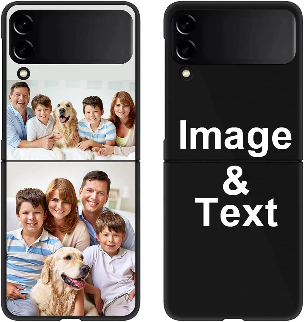 Custom Phone Case for Galaxy Z Flip 3(Not Fit Galaxy Z Flip), Personalized Photo Case Picture Bumper Silicone Customized Case STYLETiFY Soft Matte Candy Case Protective Phone Cover Birthday Gift Black