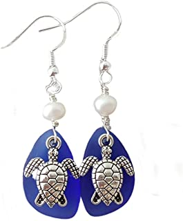 "product image for Handmade in Hawaii,""Twin Turtles"" Cobalt Sapphire sea glass earrings,""September Birthstone"", Freshwater pearls, (Hawaii Gift Wrapped, Turtle earrings"