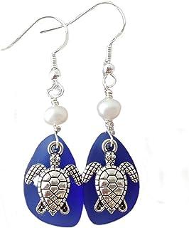 "product image for Handmade in Hawaii,""Twin Turtles"" Cobalt Sapphire sea glass earrings,""September Birthstone"", Freshwater pearls, (Hawaii Gift Wrapped, Turtle earrings"