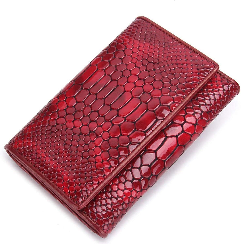 Yahuyaka Damenbrieftasche aus Leder DREI-Fach-Clutch-Tasche DREI-Fach-Clutch-Tasche DREI-Fach-Clutch-Tasche Multifunktionsbörse Rot Schwarz (Farbe   rot) B07NRL7L9W  Qualifizierte Herstellung 92ee5a