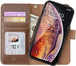iPhone XS Max ケース SHANSHUI 財布型 スキミング防止 取り外し 分離可能 PU スタンド機能 マグネット式 Apple iPhone (2018) 6.5 カード収納 ポケットホルダー付き 耐衝撃カバー (ブラウン)