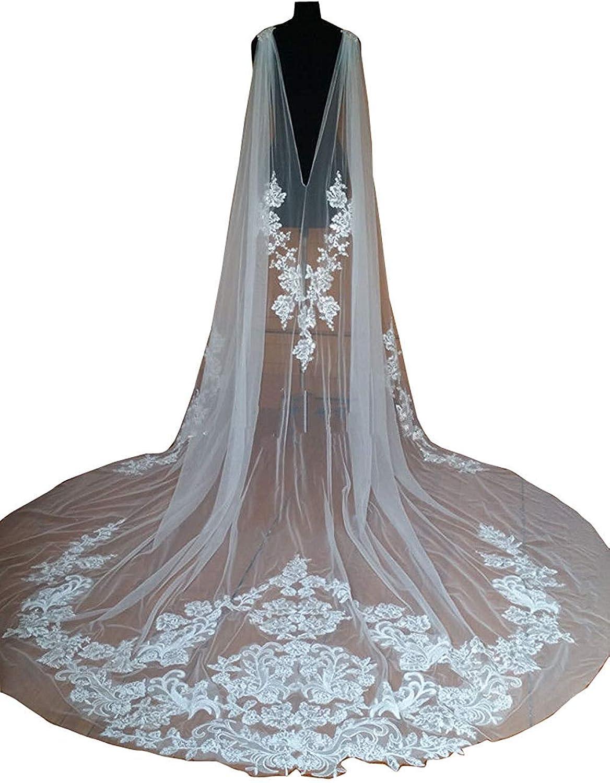 EllieHouse Women's Long Tulle Bridal Cape Wedding Veil Cloak T01