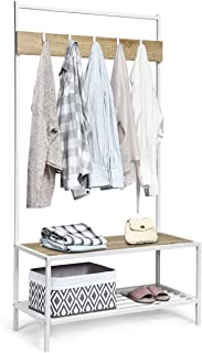 Tangkula 3 in 1 Industrial Coat Rack, Hall Tree Shoes Bench, Entryway Storage Organizer with 2-Tier Storage Bench and 5 Hooks, Wood Look Accent Furniture with Metal Frame (Natural)