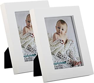 RPJC 3.5x5 Picture Frames (Set of 2) Made of Solid Wood High Definition Glass for Table Top Display and Wall Mounting Photo Frame White