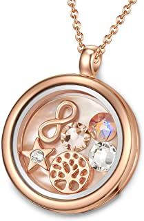 MESTIGE Women Crystal Rose Gold Timeless Tree of Life Floating Charm Necklace with Swarovski Crystals