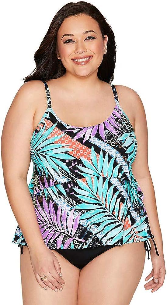 Caribbean Joe Women's Swimwear Stay Wild Curiosity Shop High Low Flounce Tankini Bathing Suit Top