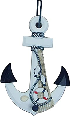 AUKMONT Wooden Anchor Wall Hanging Decor, Nautical Sea Shore Shell Anchor Hook Ornament (A)