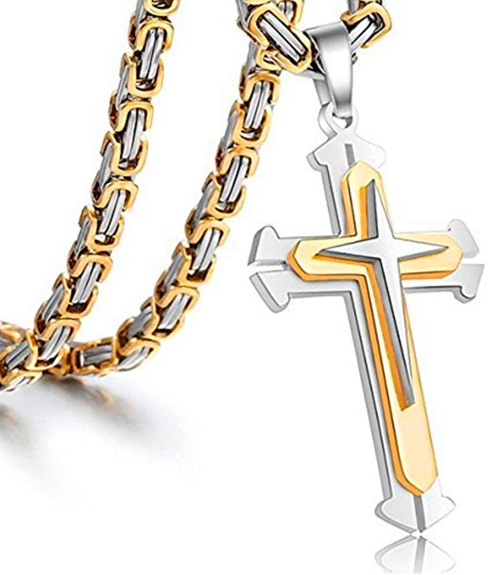 Jewelry Stainless Steel Cross Pendant Necklace Mens Boys Chain 5mm Byzantine Gold Genuine Cuban Link Curb Chain 20-30inch (Pendant with 28