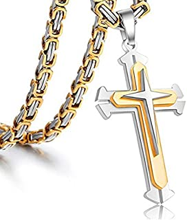 Jewelry Stainless Steel Cross Pendant Necklace Mens Boys...