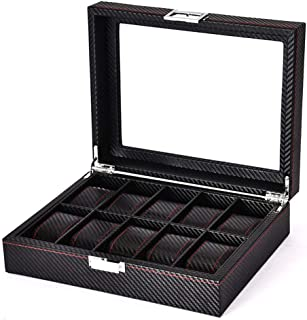 Carbon Fiber Design Watch Box - 10 slots Luxury Watch Case Display Organizer,Men's watch Storage Box With HD glass top