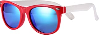 Pro Acme TPEE Rubber Flexible Kids Polarized Sunglasses for Baby and Children Age 3-10 (Red Frame/Blue Mirrored Lens/48)