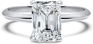 1 carat Forever ONE Near colorless emerald cut solitaire moissanite engagement ring 14k White Gold
