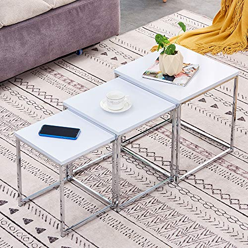 QIHANG-UK White High Gloss Nested of 3 Tables Living Room Cube Nesting Tables Nest of Tables Modern Side Table End Table Small Coffee Tables Space Saving Stackable Nested Tables with Chrome Legs