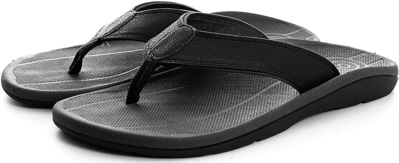 Irsoe Men's Pat Black Summer Flip Flop Sandal Orthotic Arch Support