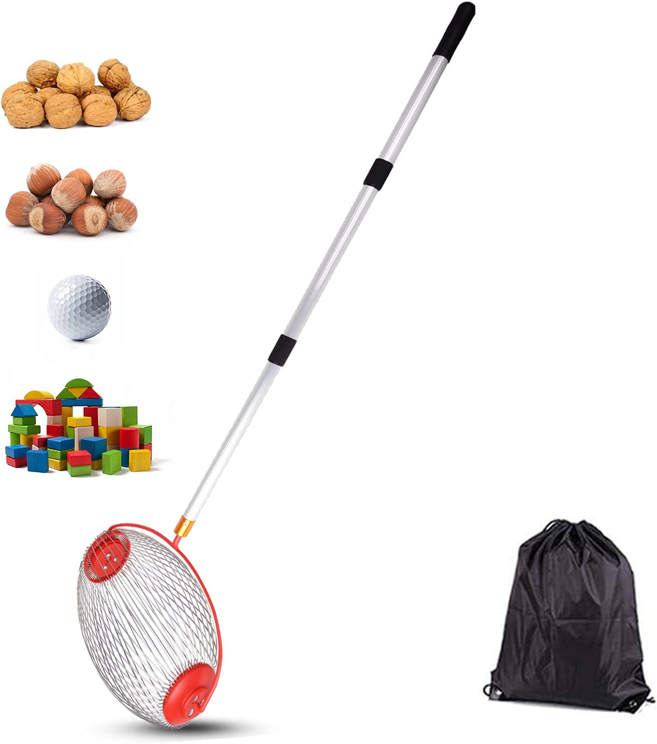 VEDOSRE Large Nut Gatherer Rolling Nut Harvester Ball Picker Adjustable Outdoor Manual Tools Picker Collector Walnuts Pecans Golf Nerf Darts and Ball 1'' to 3'' in Size (14.6in)